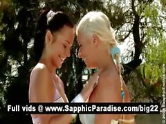 Stunning blonde and brunette lesbians kissing and licking nipples and having lesbian love