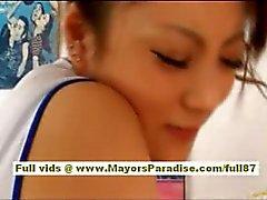 Risa Tsukino stunning asian cheerleader gets pussy licked