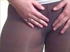 Wide Hips Big Butt and Hairy Pussy in Pantyhose and Heels