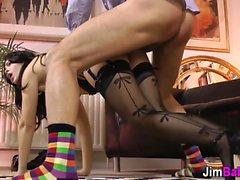 Stockings euro face spunk