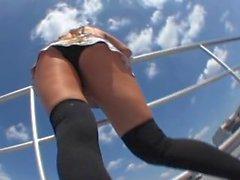 Aoyama Yui Pantyhosed Upskirt On Stairs