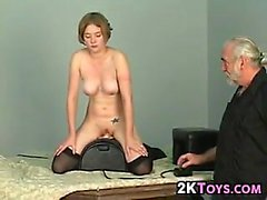 Cute Slave Riding A Machine