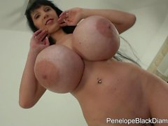 Penelope Black Diamond - Giant plastic tits and natural toys