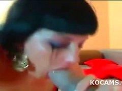 Sloppy dildo blowjob by amateur brunette teen
