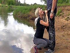 German girl blowjob outdoor