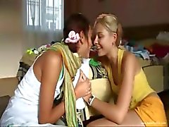 Kissing and tease of two teenies