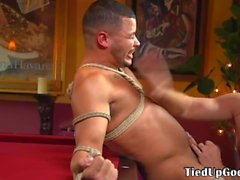 Ripped bdsm sub tied up whipped and jerked