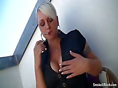 Bridgette having smoke