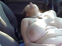 BBW-Girl Outdoors - Masturbating in a Car
