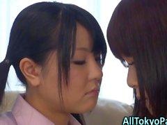 Lesbo asian babes kiss