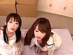 Petite Japanese babes enjoy sharing dick