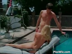 Piss party by the pool where blonde part2
