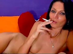 Smoking sophisticated black haired poses simple bare and be