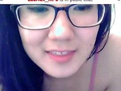 gözlük ile seksi Asyalı kam model Strang ile sohbet etmek seviyor