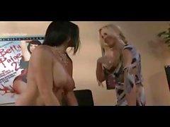 Lesbian porn scene from stunning models Julia Ann and Raylene