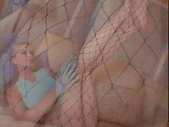 Hottie fishnet stocking tease