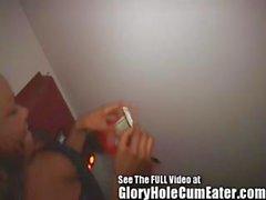 Ebony Cum Slut Slurping Down Strange Gloryhole Cocks
