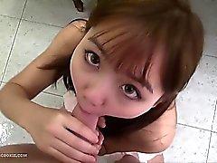 Asian teen fucks hard in cute playsuit