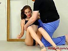 Kaunis taideteos tyttö saa karhea anal Vittu ja kova loistava