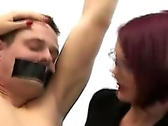 British femdom babes humiliate chained amateur CFNM guy