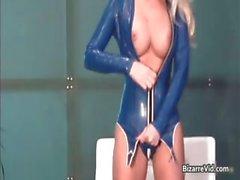 Attractive blonde slut gets in blue part4
