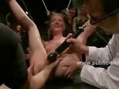 Men and women playing with alive sex toy in public group sex usin