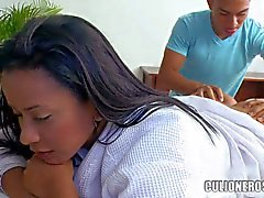 Buxom latina Carolina with her Big Ass massaged