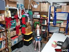 Redhead amateur teen caught shoplifting and fucked