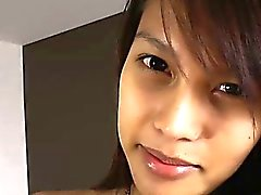 Thai ladyboy Candise intensely jerks off