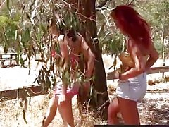 Lesbian assholes and cunts licked outdoors