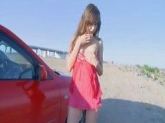 fine girlfriend fingering in a car