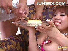 Busty Asian Pussy Vibrated And Eats A Cum Covered Snack