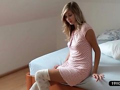 Sweet blond amateur pleases herself before going to school