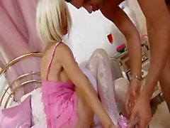 Hot blonde Delta White sucks and spreads her legs to fuck and gets facial