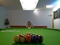 Killer girl4girl in shoes on billiards