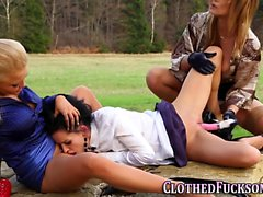 Bound clothed glam lesbo
