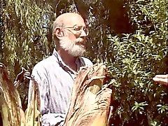 Old men share a slut in the garden