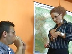 Hot blonde teacher with big tits getting her breasts licked and touched