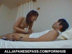 Ren Asano babe has asshole fingered and sucks and licks phallus