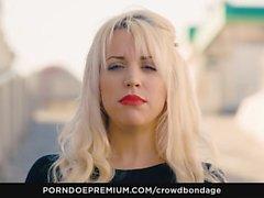 CROWD BONDAGE - Obedient latina Blondie Fesser in BDSM sex