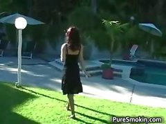 Sexy brunette smoker gets outdoor part5