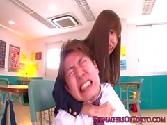 Japanese schoolgirl face sprayed