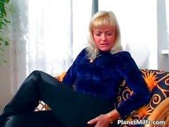 Old blonde slut rides big cock on the