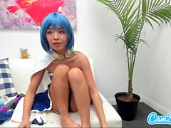 Costumed asian toys pussy