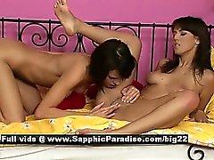 Adela and Liliana stunning lesbian girls toying