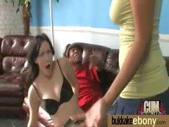Gorgeous ebony lady sucks white dicks and gangbang fucking 6