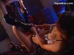 Asian Girl In Sexy Lingery Getting Her Tits Rubbed Pussy Licked Sucking Strapon Kissing With Girl In Pvc Corset And Gloves In The Basement