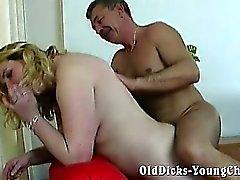 Chubby blonde pounding horny grandpa
