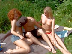Adorable Teen sluts Caprice and Hailey share cock outdoor
