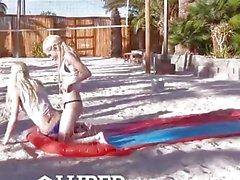 LUBED - Petite blondes Elsa Jean and Piper Perri naughty playtime